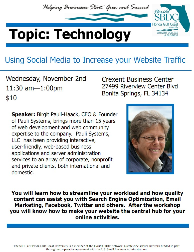 SBDC Workshop: Using Social Media to Increase Your Website Traffic